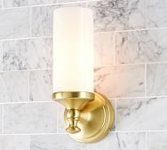 Our Mercer Single Tube Sconce is crafted with frosted glass to cast a warm, bright glow in the bath. Available in a choice of hand-applied finishes, it's easy to create a coordinated look. Bathroom Sconces, Bathroom Light Fixtures, Wall Sconces, Bathroom Lighting, Wall Lamps, Bathroom Ideas, Downstairs Bathroom, Bath Ideas, Bathroom Designs