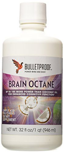 Brain Octane™ Oil by Bullet Proof more concentrated in caprylic fatty acids than coconut oil(+) Brain Octane Oil rapidly metabolizes into ketones, providing instant energy to the brai Bulletproof Diet, Paleo Vegan Diet, Vegetarian Diets, Ketogenic Recipes, Ketogenic Diet, Keto Recipes, Ketogenic Supplements, Keto Foods, Bakken