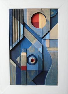 abstract contemporary art deco cubist modern original acrylic relief sculpture  #Abstract