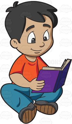 A boy reading a novel #cartoon #clipart #vector #vectortoons #stockimage #stockart #art