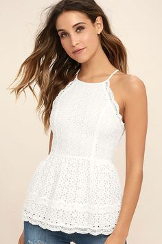We are hopelessly devoted to the Be True White Lace Peplum Top! Darling  eyelet lace f4ef4920d