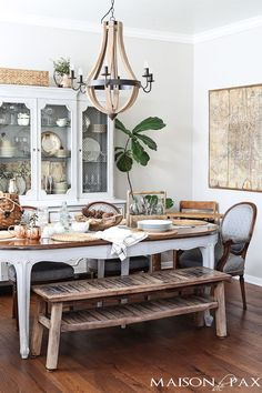 This dining room has a lovely mix of highs and lows: a rustic bench paired with a formal french dining set and a mix of antiques and diy ideas... | maisondepax.porch.com
