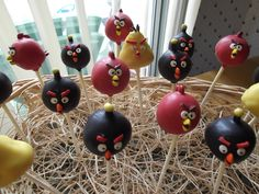 My attempt at Angry Bird cake pops :)