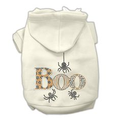 Boo Rhinestone Dog Hoodie - White Cream. Your dog will look adorable this Halloween in the Boo Rhinestone Dog Hoodie! Rhinestone design Boo with spiders on back Drawstring hoodie Made of poly/cotton Why We Love It:Enjoy the Halloween festivities while keeping your dog bundled up with the Boo Rhinestone Dog Hoodie. Made of soft poly/cotton sleeved hoodie, double stitched in all the right places for comfort and durability. Great for holiday parties and photos! Your dog will shimmer and...