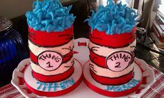 Dr. #Seuss #Cake Brithday Party #Thing 1 Thing 2