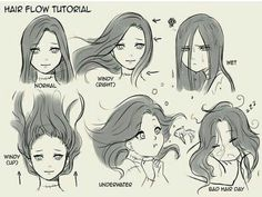 Hair flow drawing techniques, drawing tips, drawing reference, water drawing, drawing expressions Drawing Poses, Drawing Tips, Drawing Reference, Drawing Ideas, Drawing Hair Tutorial, Manga Drawing Tutorials, Manga Tutorial, Anime Poses Reference, Sketches Tutorial