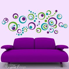 Retro Decor Vinyl Wall Decals 72 Polka Dots and Circles Wall Decal, Wall Pattern Decal, Abstract Designs - Vinyl Wall Decals: 72 Polka Dots and Circles Wall Pattern, Abstract Designs, Vintage Retro Decor - Purple Accent Walls, Purple Accents, Purple Couch, Kitchen Wall Decals, Vinyl Wall Decals, Wall Stickers, Living Room Decor Purple, Purple Furniture, Retro Home Decor