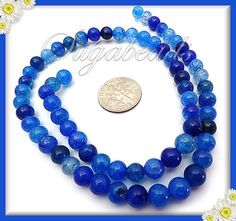 Shades of Blue Dragon Vein Agate Round Beads 6mm  1 by sugabeads, $6.25