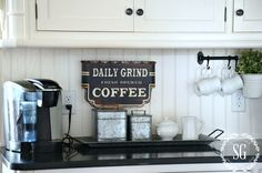 6 TIPS FOR A FUNCTIONAL AND FABULOUS KITCHEN- coffee station-stonegableblog.com