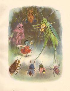 Bug Dance Vintage Childrens Illustration By Ruth by Elizabeth100, $6.00