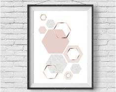 Hexagon Print Honeycomb Art Blush Print Copper Print Copper Decor Copper Art Geometric Print Scandinavian Design Nursery Art Pink Wall Art