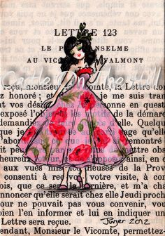 Original ACEO painting on vintage book page  by CastleOnTheHill, $19.50