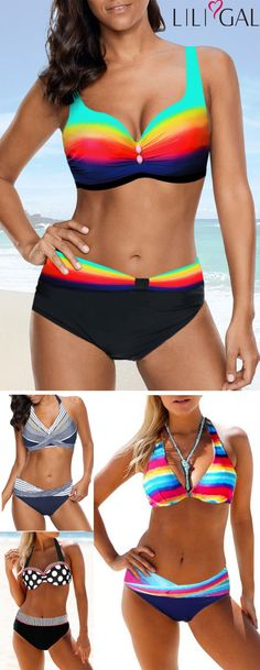 Summer Rainbow Print Bikini Swimsuits for women 2019 Great recommended cute rainbow print bikinis with high waisted and halter … Bikinis For Sale, Swimwear Sale, Swimwear Fashion, Bikini Swimwear, Color Block Bikini, Vintage Swimsuits, Rainbow Print, Plus Size Swimsuits, Trends