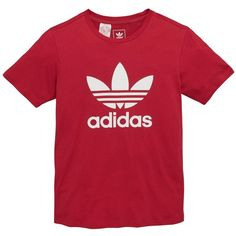 Adidas Originals Older Girls Trefoil Tee (420 MXN) ❤ liked on Polyvore featuring tops, t-shirts, trefoil t shirt, trefoil tee, cotton tee, red top and adidas originals