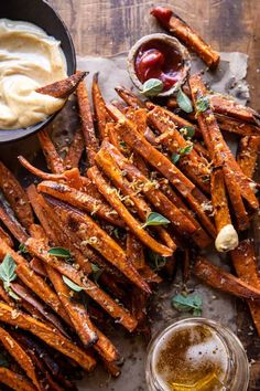 Garlic Parmesan Sweet Potato Fries with Spicy Aioli. Homemade Sweet Potato Fries, Sweet Potato Skins, Sweet Potato Casserole, Sweet Potato Recipes, Bourbon Sweet Potatoes, Roasted Sweet Potatoes, Spicy Aioli, Half Baked Harvest, Side Dish Recipes