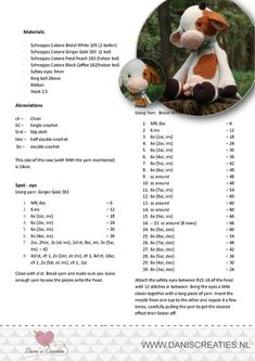 Annette Gregersen Crochet Cow, Crochet Baby Toys, Crochet Doll Pattern, Crochet Patterns Amigurumi, Cute Crochet, Amigurumi Doll, Crochet Dolls, Animal Knitting Patterns, Cow Pattern