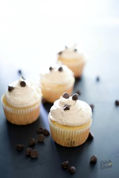 Chocolate Chip Cupcakes with Chocolate Chip Cookie Icing  (Preview from The Grain-Free Snacker)