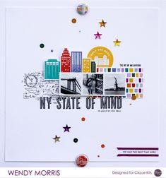 #papercraft #scrapbook #layout NY State of Mind - Scrapbook.com - Love this graphic, fresh layout with lots of white space.