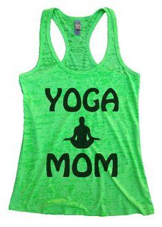 """Womens Tank Top """"(Black) YOGA MOM"""" 1129 Womens Funny Burnout Style Workout Tank Top, Yoga Tank Top, Funny (Black) YOGA MOM Top"""