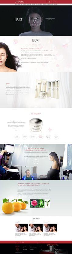"""Direction Artistique & Création d'un mini-site """"IBUKI"""" en Responsive Design avec Parallaxe pour la marque """"Shiseido"""". #WebDesign #Luxe #UX Design"""