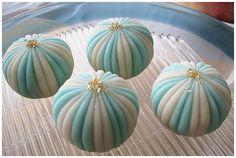 """Wagashi, """"Temari"""" Handball shaped, cute/cool summer colored Japanese #sweets"""