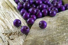 Wood Beads 12mm Purple Wood Round Beads Wood by Mebeadterranean