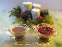 1:12 scale // OOAK ARTIST Gravy & Whole Cranberry Sauce by CrownJewelMiniatures, $16.99