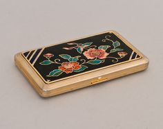 Vintage Glass Enamel Floral Cigarette Case