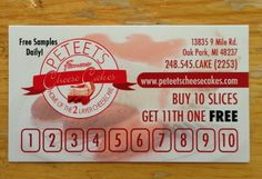 Come in and get your slice punch card. Flavors of the month are APPLE MARTINI CHEESECAKE and MARGARITA CHEESECAKE.
