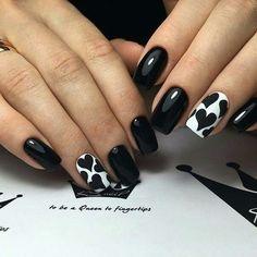 Beautiful black nails, Birthday nails, Bright nails ideas, Christmas nails, Evening short nails, Glossy nails, Heart nail designs, New year nails ideas 2017