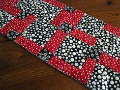 Black White and Red Table Runner Quilted by HandmadeTableLinens, $20.00