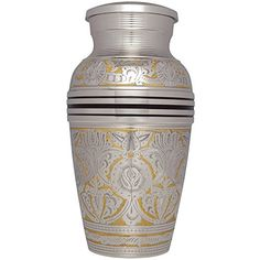 Funeral Urn by Liliane  Cremation Urn for Human Ashes  Hand Made in Brass with Beautiful Silver color finish  Display Burial Urn at Home or in Niche at Columbarium  Rimini Model -- Want to know more, click on the image.