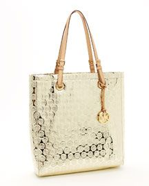 MICHAEL Michael Kors Monogram Mirror Metallic North South Tote, Gold    $198