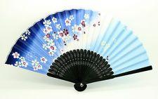 Japanese Hand Held Folding Paper Fan blue SENSU sakura Design Traditional Japan