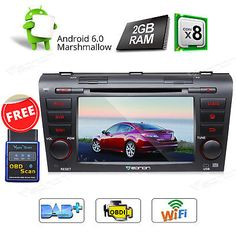 """﹩339.00. Player OBD2 Android 6.0 8CORE Car DVD for Mazda 3 3G Head Unit BT DVR Dash   Color - Black, Fitment - 2005