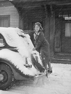 vintage old car and a woman