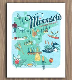 Minnesota Art Print   This hand-lettered illustration depicts everything Minnesota, ...   Posters