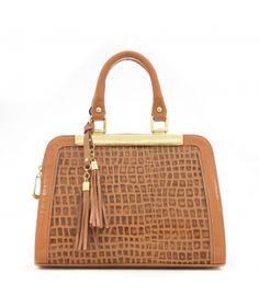 Agna: bolsa feminina de couro Anandra cor: caramelo