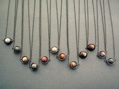 Planet Necklace Jasper Solar System Necklace Space by Chrysalism (etsy) - wear your favorite scify planet!