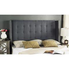 Safavieh Keegan Grey Velvet Upholstered Tufted Wingback Headboard (Full)