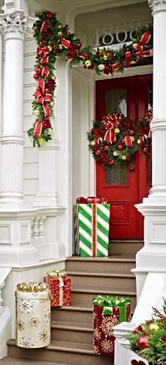Christmas Entryway Door Decorations Porch Green