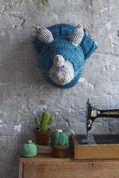 Faux Triceratops Dinosaur Head Knitting pattern by Louise Walker | Knitting Patterns | LoveKnitting
