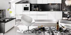 elegante Art Deco Möbel in schwarz-weiß zeitgenössischen Innenraum träumen Heim