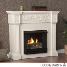 Holly & Martin Huntington Gel Fireplace-Ivory. Crisp is the perfect description for this traditional ivory fireplace. Fluted columns frame the firebox on each side and an elegant floral design across the top of this classic fireplace draws attention. This beautiful mantel is finished off with understated molding that complements the design fabulously. Requiring no electrician or contractor for installation allows instant remodeling without the usual mess or expense.