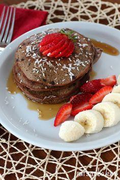 Coconut Flour Chocolate Pancakes #paleo