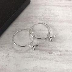Silver Bee Hoop Earrings/Silver Hoop Earrings/Silver Bee Earrings/Sterling Silver Earrings/Hoop Earrings/Everyday Wear/Gift/Bee Jewellery  Silver Bee Hoop Earrings/Silver Hoop Earrings/Silver Bee Earrings/Sterling Silver Earrings/Hoop Ear #Bee #EarringsEveryday #EarringsHoop #EarringsSilver #EarringsSterling #Hoop #Jewellery #Silver #WearGiftBee Bee Jewelry, Silver Jewelry, Silver Hoops, Sterling Silver Earrings, Sleeper Earrings, Infinity Necklace, Personalized Necklace, Etsy Earrings, Just For You