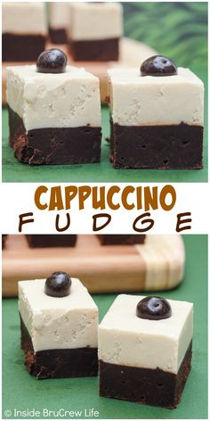 Layers of coffee and dark chocolate fudge makes a great Cappuccino Fudge.  Perfect holiday treat!
