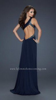Navy Long One Shoulderr Beading Open Back Prom Dresses La Femme 17166