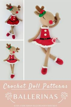 Reindeer Crochet Doll Pattern, Amigurumi Deer Pattern, Christmas Crochet Pattern, 14,5 inches - 37cm Amigurumi Doll Pattern Amigurumi Pattern, Crochet Reindeer Tutorial for Christmas Decoration. Her name is Flora Fawn from the series of Ballerinas. This is a DOWNLOADABLE TUTORIAL. Written in English. Bunny Crochet, Crochet Snowman, Christmas Crochet Patterns, Crochet Doll Pattern, Cute Crochet, Amigurumi Doll, Amigurumi Patterns, Doll Patterns, Deer Pattern