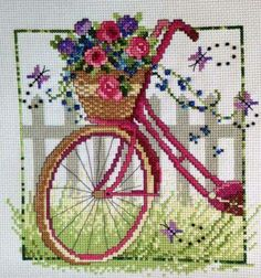 Embroidery Stitches Tutorial Vintage Bicycle by Leslie Teare Chart size in stitches: 112 x 112 (wide x high) Needlework fabric: Aida, Linen or Evenweave Stitches: Cross stitch, Backstitch, French knots Chart: Color Number of colors: 25 - French Knot Embroidery, Cross Stitch Embroidery, Embroidery Patterns, Hand Embroidery, Simple Embroidery, French Knot Stitch, French Knots, Cross Stitch Designs, Cross Stitch Patterns